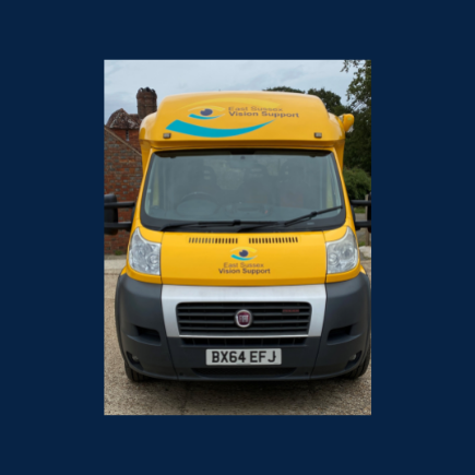 Image shows the front of the ESVS outreach vehicle